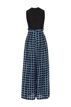 Checkered ruffle waist jumpsuit