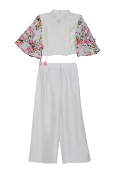 One side drape flower print kurta set