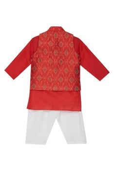 Ikat print jacket and kurta set