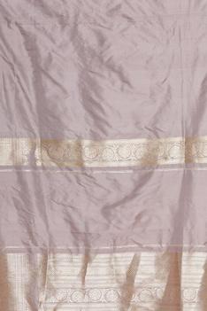 Pure mulberry silk sari in woven jharoka motifs & unstitched blouse