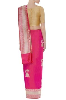 Mulberry silk banarasi woven sari with unstitched blouse