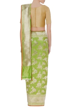 Handwoven pure mulberry silk sari with unstitched blouse