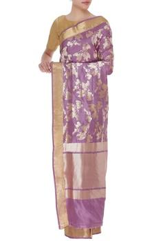Cherry motif pure mulberry silk sari & unstitched blouse
