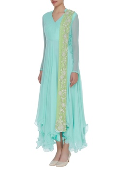 Pearl embroidered angrakha with dupatta