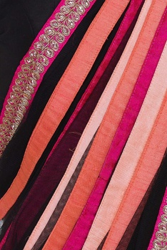 Net handmade ribbon sari with embroidered blouse