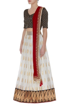 Banarasi border lehenga with blouse & dupatta