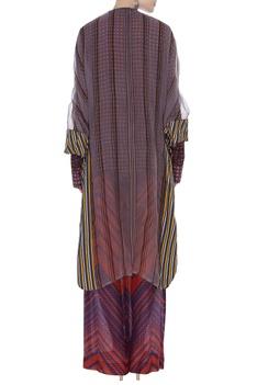 Printed shirt & pant with sheer cape set