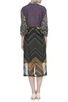 Printed collar shirt with organza midi skirt