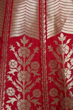Brocade lehenga with embroidered blouse & dupatta
