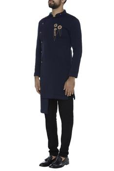 Open kurta jacket with brooch