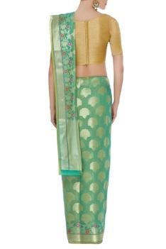 Chanderi silk banarsi sari with unstitched blouse
