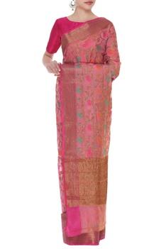 Chanderi silk sari with unstitched blouse