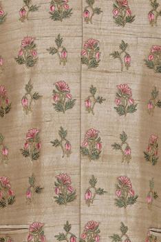 Raw silk floral cord embroidered nehru jacket