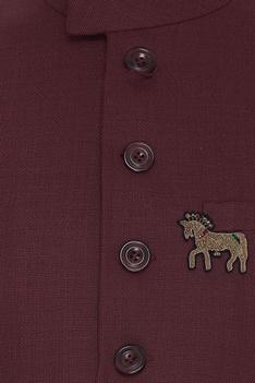 Wool bundi jacket with horse crest