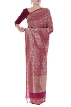 Handwoven sari with zari embroidered border