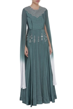 Embroidered yoke flared gown