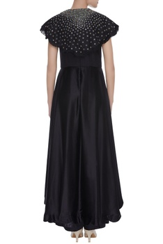 Metal embroidered cape jumpsuit