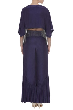 Bead embroidered crop top with kaftan jacket & pants