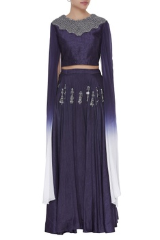 Draped sleeves crop top with embroidered skirt