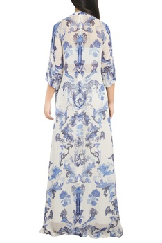 Printed long cape with inner and flared pants