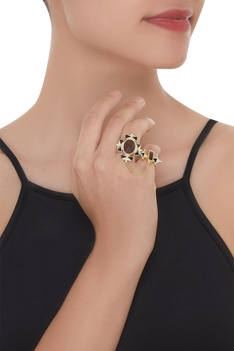 Adjustable Kundan Ring with Gold Chain