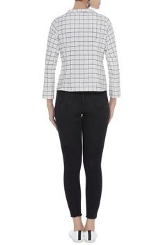 Checkered cotton blazer