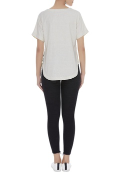 Short top with side tie up detail