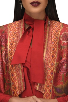 Dupion hand painted floral long jacket