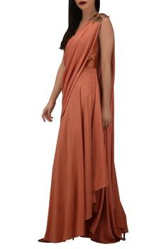 Dupion silk & crepe draped style jumpsuit