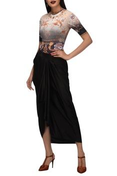 Phoenix bird & oriental floral bodysuit