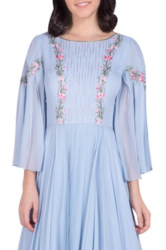 Embellished pleated gown with bell sleeves