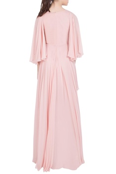 Embellished asymmetric jumpsuit with flared sleeves