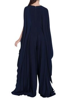 Embroidered Draped Sleeve Jumpsuit