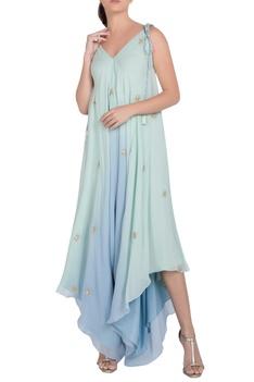 Embellished asymmetric dhoti jumpsuit