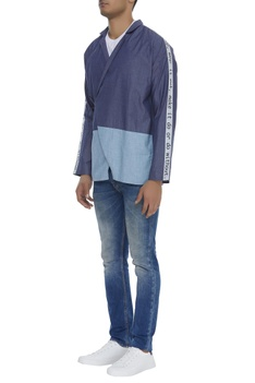 Patchwork sleeves shacket
