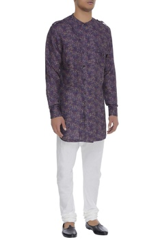 Overlap collar floral print kurta