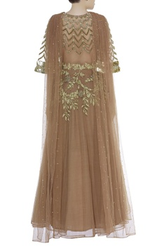 Embroidered anarkali with attached dupatta