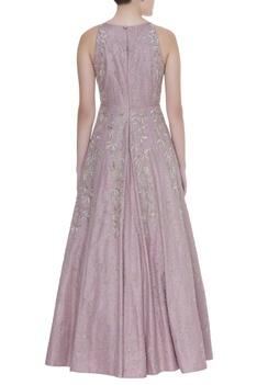 Embroidered dupion silk gown