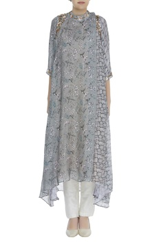 Printed asymmetric tunic with embroidery