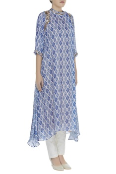 Asymmetric printed tunic with sequin embroidery
