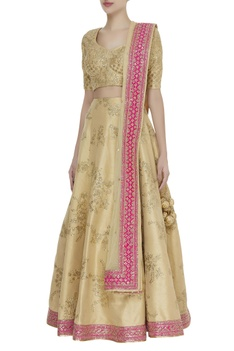 Zari & sequin embroidered lehenga with blouse & dupatta