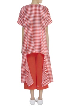 Chequered asymmetric blouse