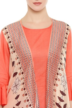 Asymmetric kurta with printed jacket and pants