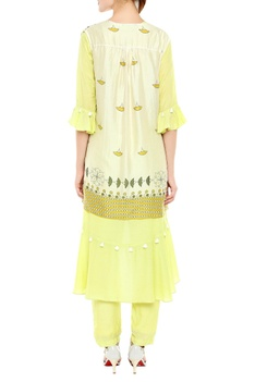 Asymmetric kurta with printed open jacket and pants