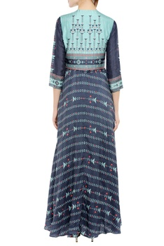 Printed long flared kurta with short jacket