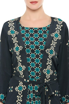 Printed jumpsuit with embroidered long jacket