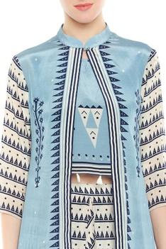 Crop top with printed long jacket & dhoti pants