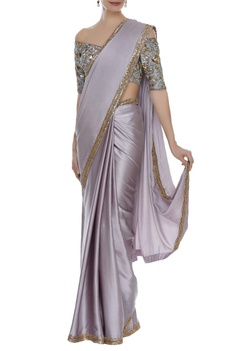 Sequin embroidered border sari with blouse