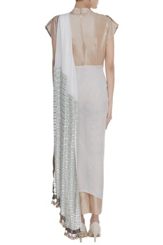 Draped jumpsuit with fringes