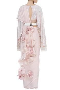 3D rose sari with fringe blouse & belt